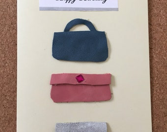 Leather handbag birthday card