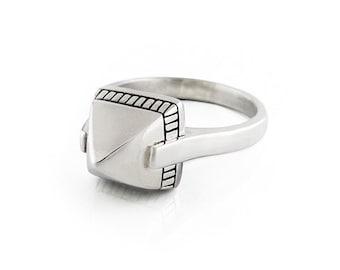 Sterling silver pyramid ring | stacking ring | mens or womens | handmade ring