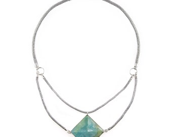 Talisman Necklace with Amazonite stone on Sterling Silver chain