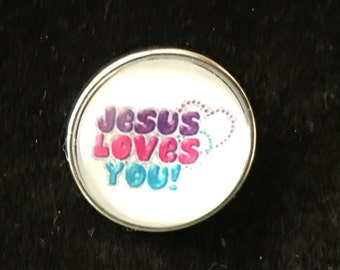 Jesus Loves You Snap - Fits all snap jewelry - 20mm