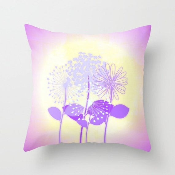 Coral Throw Pillows Etsy : Purple Bouquet Throw Pillow by NNPinksDesigns on Etsy