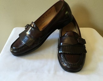 Vintage Cole Haan Men's Burgundy Leather Round Toe Kiltie Buckle Slip On Loafers Size 8.5 D