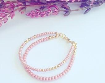 Baby Blush Bracelet - Double beaded bracelet