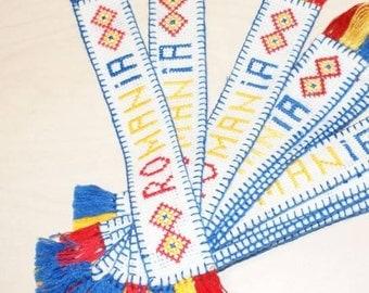Bookmark Romania with tiny tricolors fibers