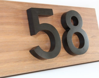 Custom house numbers / address made from hardwood and black aluminium