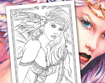 fairy coloring pages into the night fantasy fairies owls feathers - Fairy Coloring Books For Adults