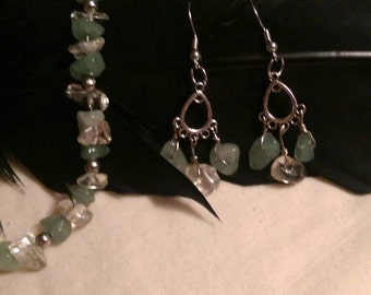 Green Aventuring and Citrine chip Earring and Bracelet set