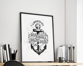 Anchor smooth sea gift family art print, fine art print