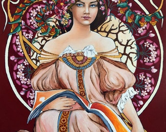 Reproduction Alphonse Mucha Art Nouveau Large Oil Painting, Own Interpretation