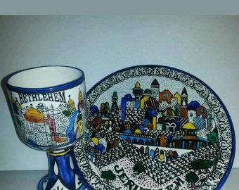 Armenian Ceramic Jerusalem plate and cup set