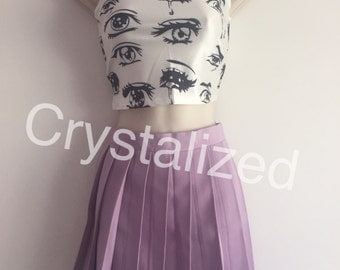 Purple high waist pleated tennis skirt