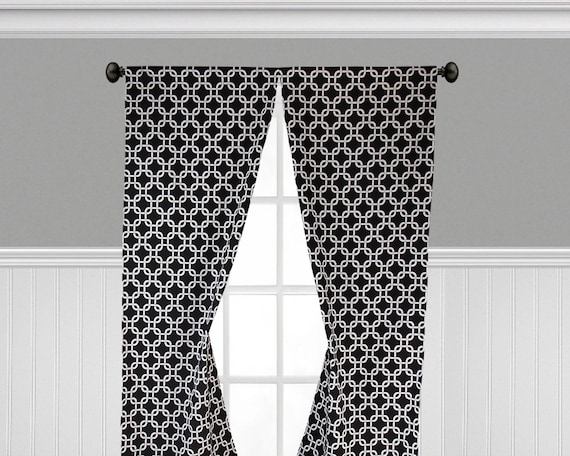 Black And White Curtains Window Treatments Modern Geometric