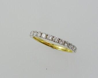 Diamond Wedding Ring. 1/2 Half Eternity Ring. Wedding Band. Yellow Gold with Diamonds