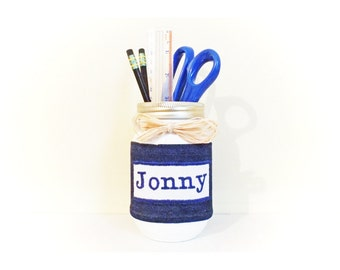 Mason Jar Pencil Holder- Back to School- Pencil Mason Jar Holder- Cute Desk Accessories- Mason Jar Desk Organizer- School Supplies