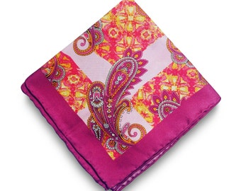 25% OFF TIE SALE! Pink Silk Paisley Pocket Square