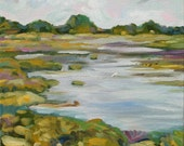 """Cape May Marsh, Landscape, 10 x 10"""" original oil on canvas, Laurie Rubinetti FREE SHIPPING"""