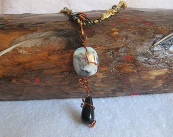 Green Earth Jasper with Black Tear Drop