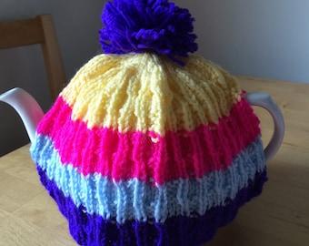 Handmade Stripy Colourful Tea Cozie/Cosy