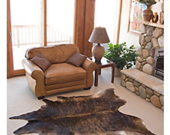 New Brazilian Hair On Cowhide Rug Brindle Dark Cowhide Leather