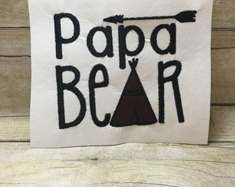 Papa Bear Embroidery Design, Papa Bear Embroidery