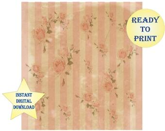 """Pink Rose Victorian Aged Wallpaper Scrapbook Sheet Printable 12X12"""" Vintage Rose Scrap Old Paper Digital JPEG File Shabby Cottage Chic"""