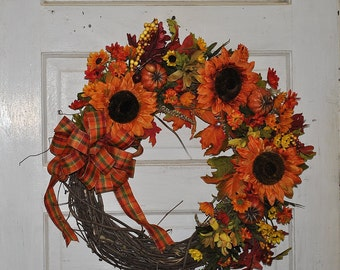 Sunflower and Pumpkin Wreath, Fall Home Decor, Large Wreath,  orange sunflowers and pumpkins, plaid bow wreath, fall front door wreath