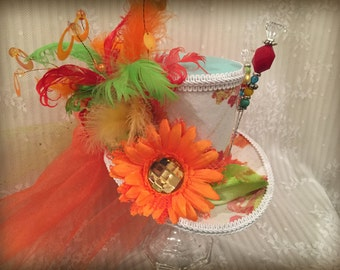Multi-colored Mad Hatter Mini Top Hat, Steampunk hat, Cosplay, Alice in Wonderland, Fascinator, Hatpins, Wedding Shower, Bridal, Victorian