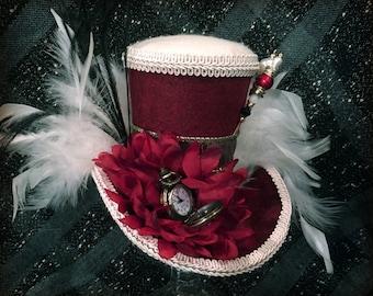 Burgundy & Ivory Steampunk Mini Top Hat,  Mad Hatter Hat, Cosplay, Costume, Victorian, Fascinator, Hatpin, Wedding, Tea Party, Bridal Shower