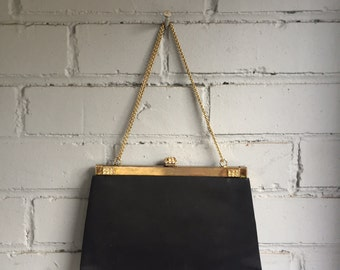 Glamorous Vintage Black Clutch with Gold Clasp 1950s Elegance