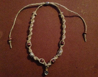 Beaded spiral square knot necklace