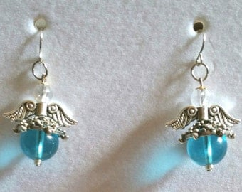 Angel earrings sky blue