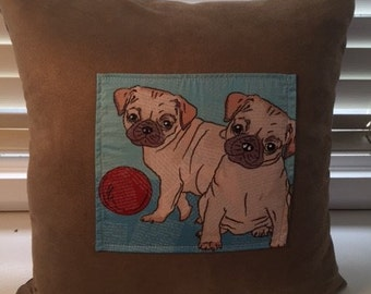 Tan cushion with pug 45cmx45cm