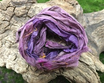 Hand Dyed Recycled Sari Silk Ribbon 5