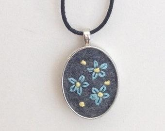 Blue Stitchy Flowers