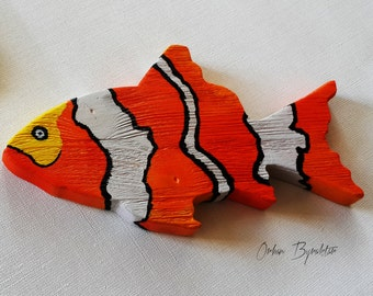 Wood art decor - wood fish