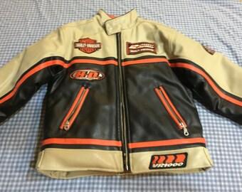 Vintage Boys Harley Davidson VR1000 Faux Leather Racing Team Jacket 8-10