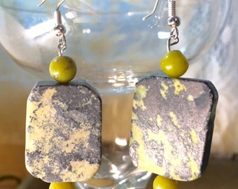 Slab Yellow Turquoise and Olive New Jade Sterling Silver Filled Earring