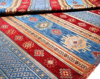 FedEx!!!by the 5 Meters,Yard,Chenille,Jacquard, Ethnic,Tribal ,Turkish,Ottoman Chenille Upholstery Fabric, Velvet Fabric,Kilim Fabric,Blue