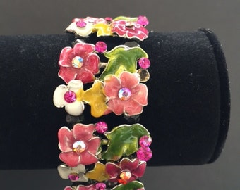 Vintage rhinestone and flower stretch bracelet