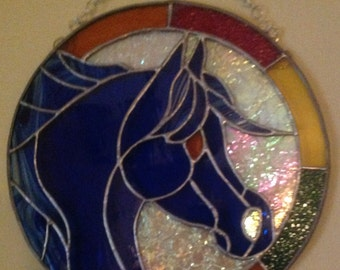 Blue Horse Stained Glass Panel