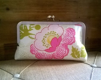 Clutch Bag in Light and Medium Pink, Greens- Floral Print