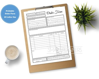 Order form, printable. Planner insert. Order form for binder. US Letter Size, Small business. Order tracking template. PDF, Instant download