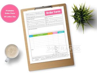 Printable order form, color. Planner insert. Order form for binder. US Letter Size, Etsy seller. Order tracking template. Instant download