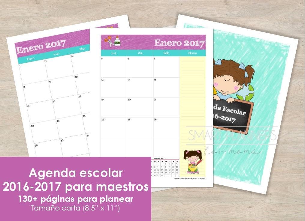 Agenda escolar para maestros ciclo 2016 2017 imprimible - Agenda imprimible 2017 ...