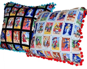 Set of 2/Day of the Dead Pillows/Day of The Dead Throw Pillows/Mexican Loteria Pillows/Decorative Day of the Dead/Mexican Style/Loteria