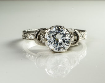 Platinum Solitaire Engagement Ring, Platinum Engagement Ring , Diamond Ring, Unique Engagement Ring, Platinum Ring, One of a kind Jewelry