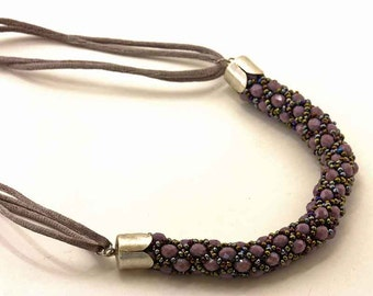 Purple Spiral Necklace of Crystals and Sand Beads