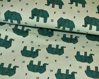 Cotton Jersey bright dark green origami elephant kids metre 0.50 metres