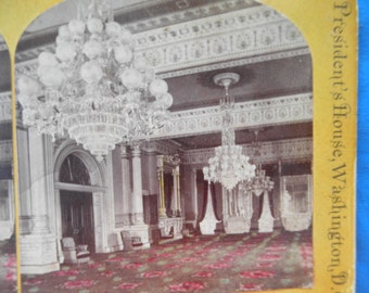 East Room Presidents House washington DC Colored Stereoview Stereo view C.Seaver Jr Photographer