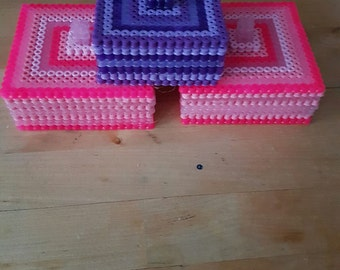Made to order Trinket Boxes, made from Hama Beads, Fully customisable, any colour!